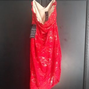 New BEBE asymmetrical strapless red lace dress